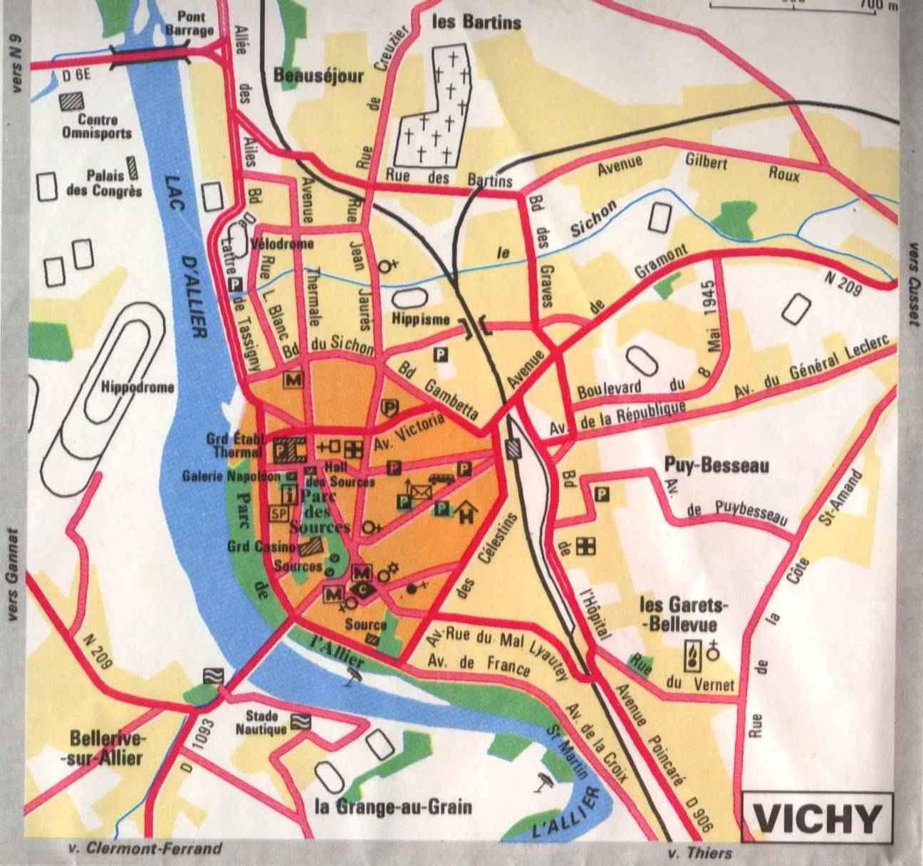 Карта Виши с отмеченными достопримечательностями